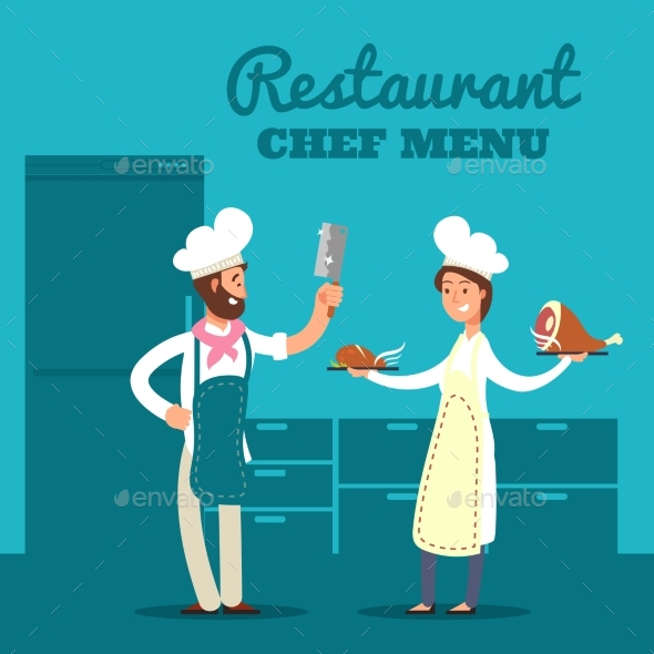 Restaurant with Kitchen Silhouette and Cartoon - Miscellaneous Vectors