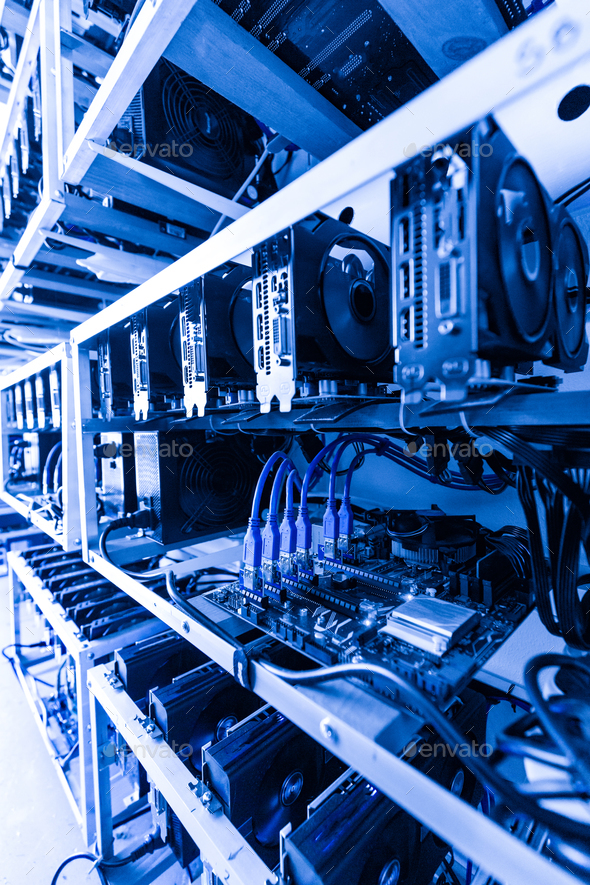 Cryptocurrency mining rig - Stock Photo - Images