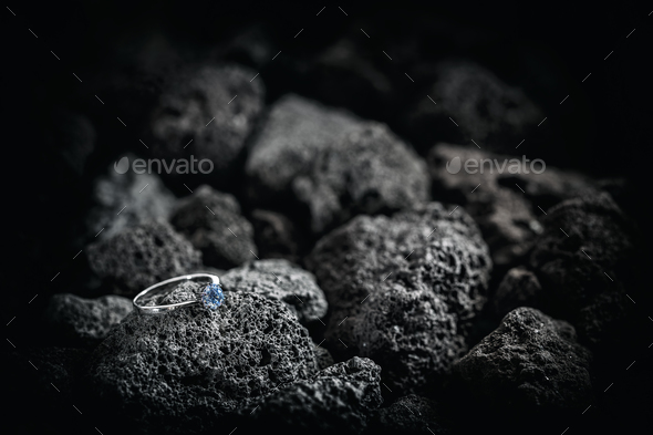 Silver ring with crystals - Stock Photo - Images