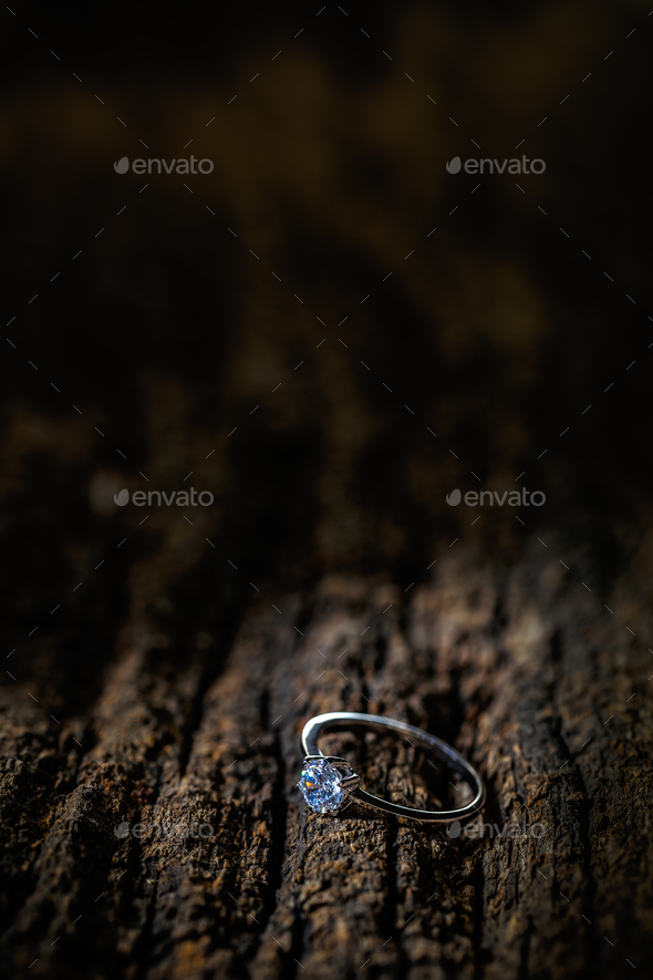 Silver ring with crystal - Stock Photo - Images
