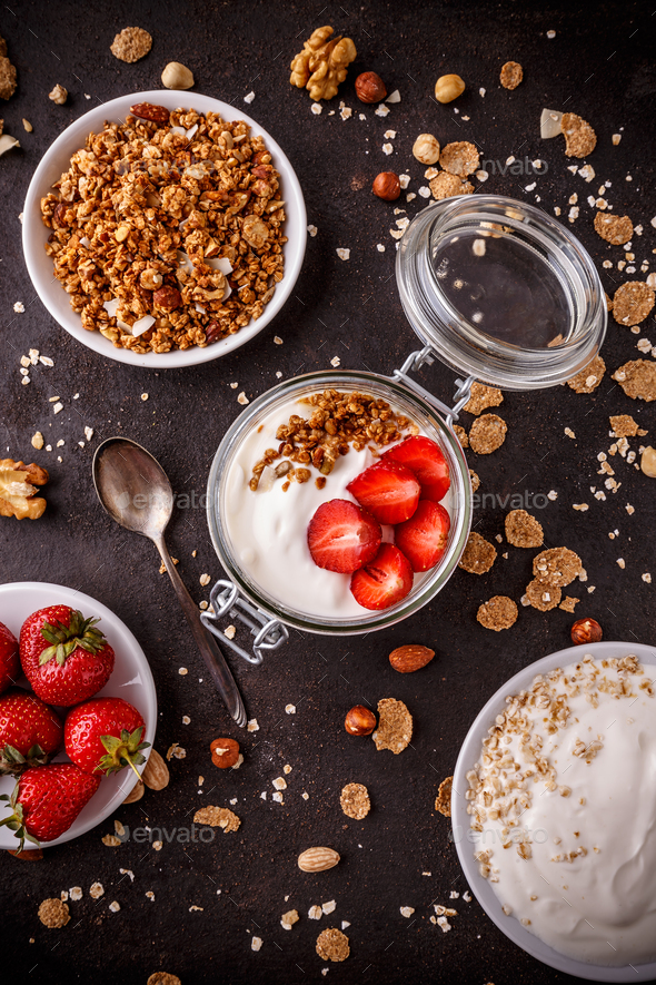 Top view of homemade granola - Stock Photo - Images