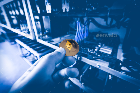 Cryptocurrency mining concept - Stock Photo - Images