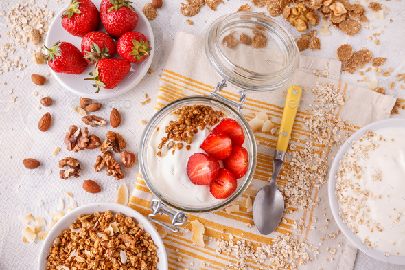 Healthy breakfast in a glass jar - Stock Photo - Images