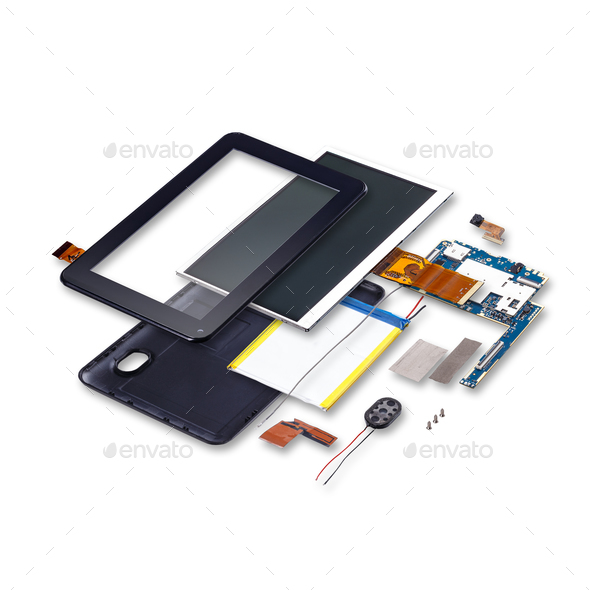 Explode view of digital tablet - Stock Photo - Images