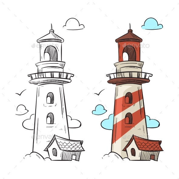 Hand Drawn Lighthouse Vector - Miscellaneous Vectors