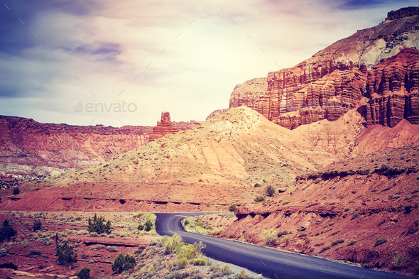 Scenic road in the Capitol Reef National Park, USA. - Stock Photo - Images