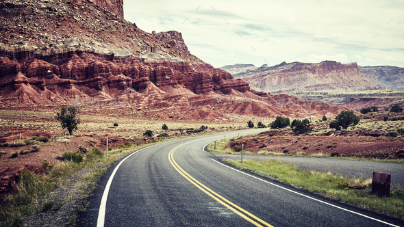 Cinematic stylized picture of a scenic road. - Stock Photo - Images