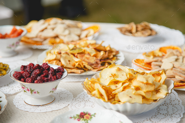 Healthy food: mix from dried fruits in bowl, selective focus - Stock Photo - Images