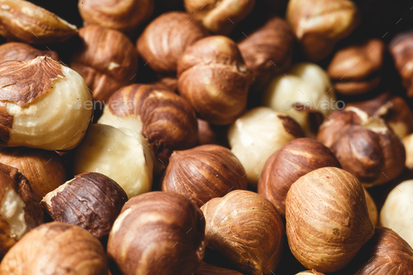 a lot of large large ripe hazelnuts - Stock Photo - Images