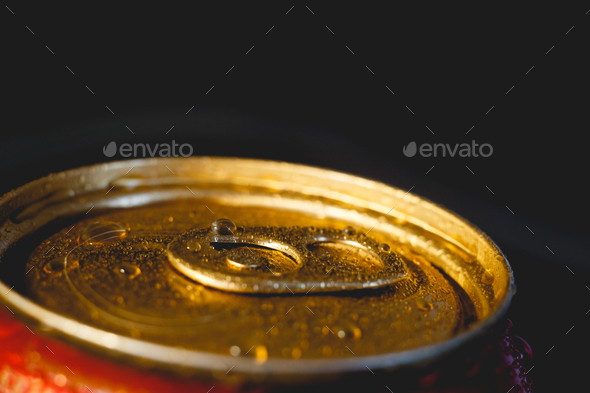 Aluminum can with beverage. - Stock Photo - Images