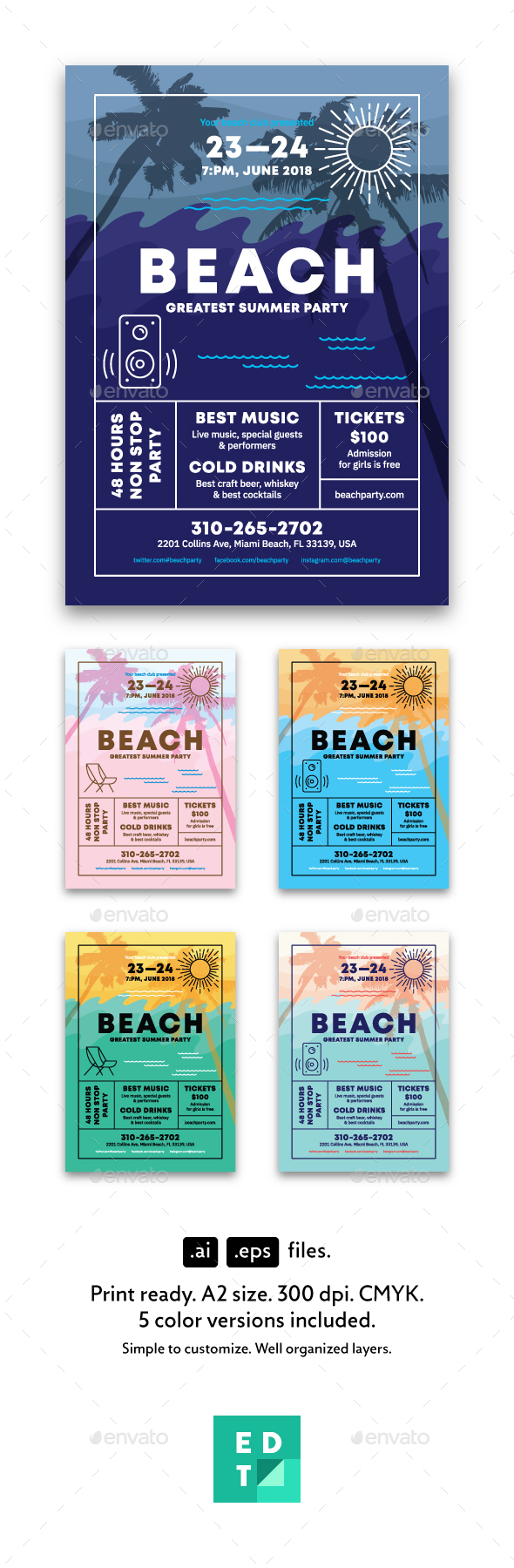 Beach Party Poster - Holidays Events