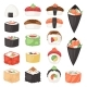 Japanese Food Vector Sushi Sashimi Roll or Nigiri