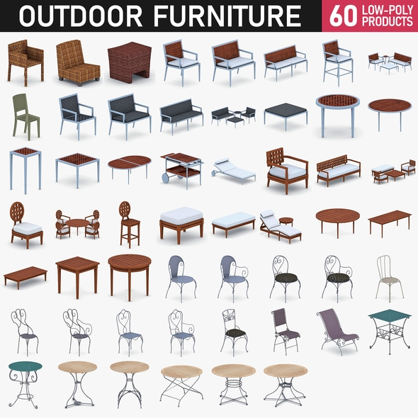 Outdoor Furniture Collection - 60 Products - 3DOcean Item for Sale