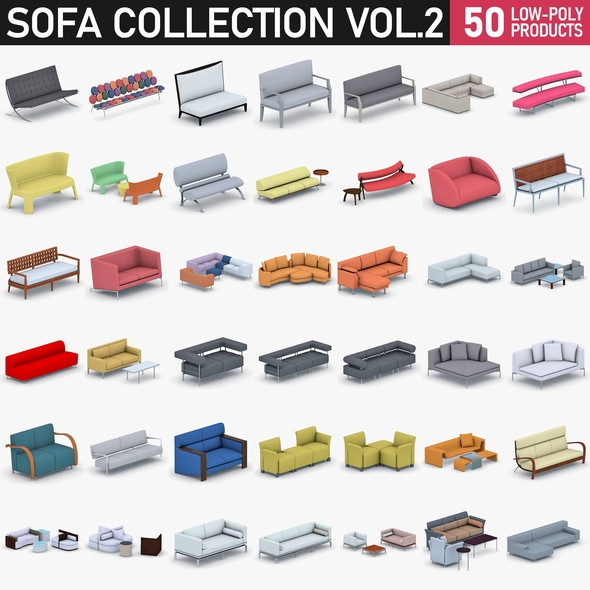 Sofas Collection Vol 2 - 50 Products - 3DOcean Item for Sale