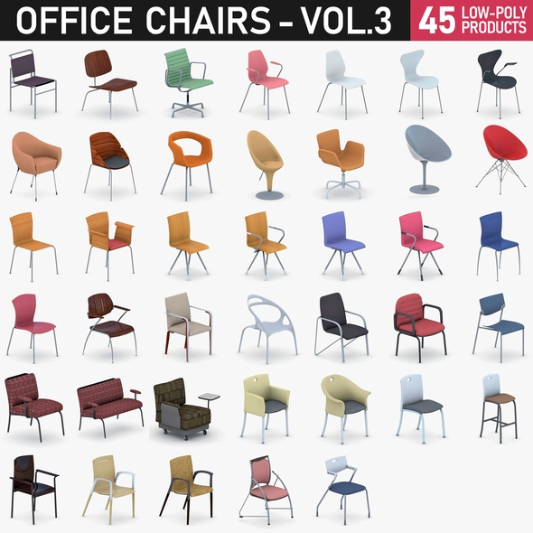 Office Chairs Collection Vol 3 - 50 Products - 3DOcean Item for Sale