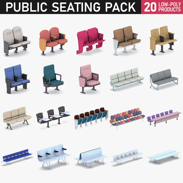 Cinema and Airport Chairs - 20 Products - 3DOcean Item for Sale