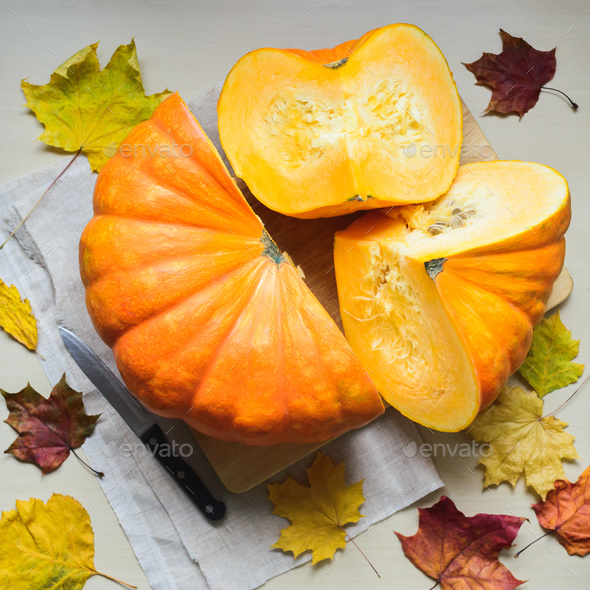 fresh harvest of orange pumpkin - Stock Photo - Images