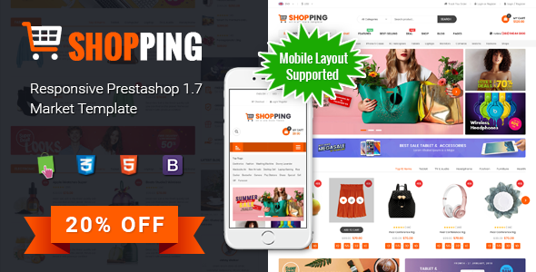 Shopping – Clean Multipurpose Responsive PrestaShop 1.7 eCommerce Theme with Mobile Layout Supported