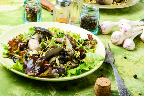 Vegetarian salad with mushrooms - Stock Photo - Images