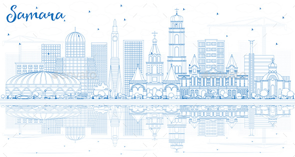 Outline Samara Russia City Skyline with Blue Buildings - Buildings Objects