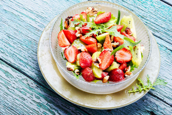 salad with strawberry - Stock Photo - Images
