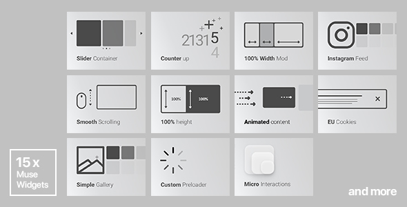 15x Adobe Muse Widgets by Rosea Themes