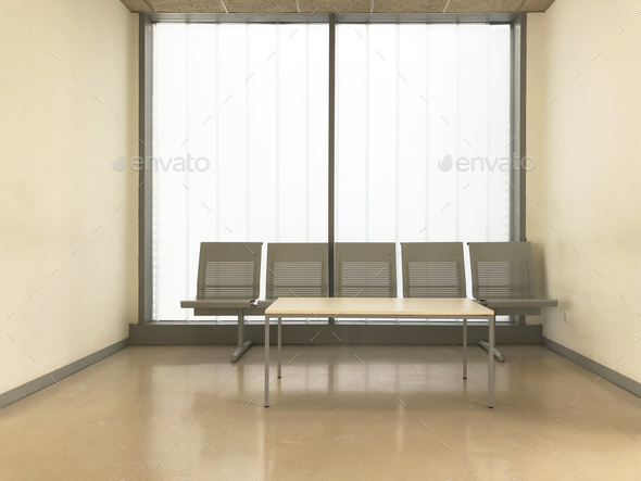 Hospital clinic waiting room. Empty hall. Indoor furniture. Horizontal - Stock Photo - Images