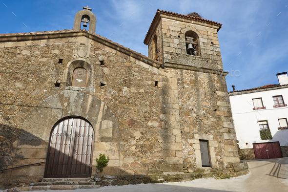 Antique traditional stone spanish church. Valdestillas village. Valle Jerte. Spain - Stock Photo - Images