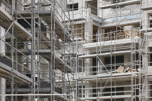 Building facade under construction. Concrete structure. Architecture. Horizontal - Stock Photo - Images
