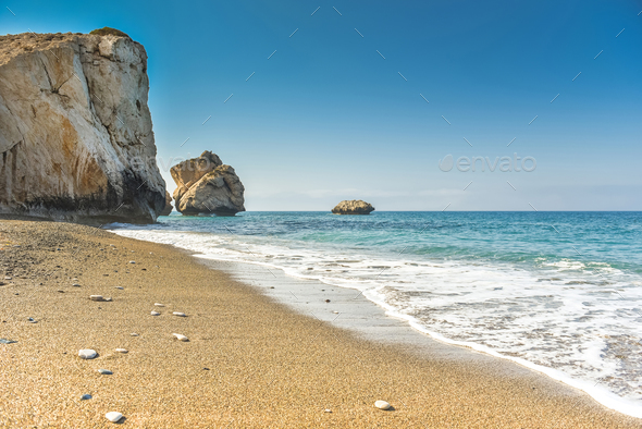 Sea bay and beach. Aphrodite's rock, Cyprus - Stock Photo - Images