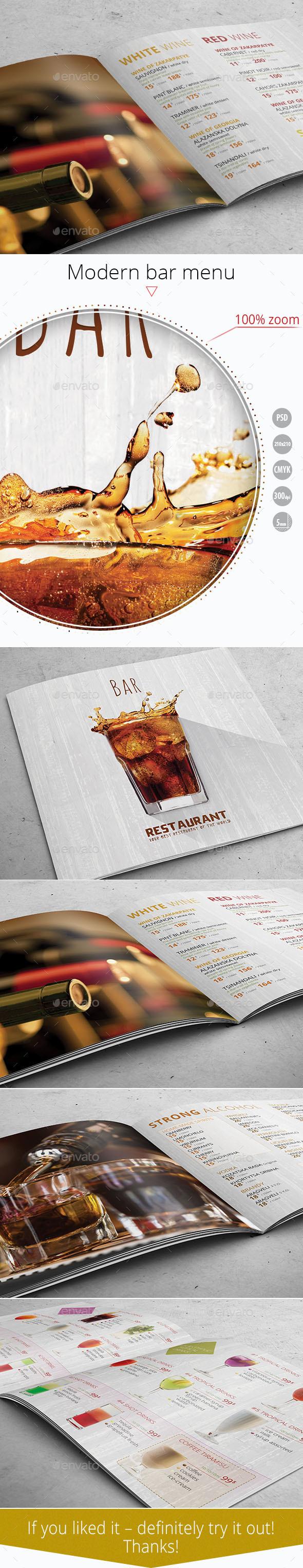 Bar Menu Template - Food Menus Print Templates