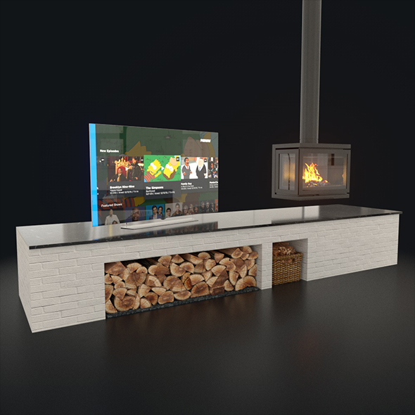 Tv and Fireplace set - 3DOcean Item for Sale