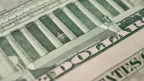 The Lincoln Memorial On The Usa Five Dollar Bill Stock Footage