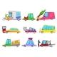 Cartoon Car Accident Vector Comic Minicar
