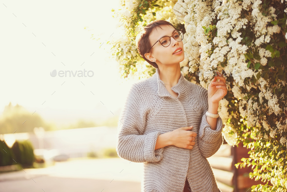 beautiful girl with short haircut - Stock Photo - Images