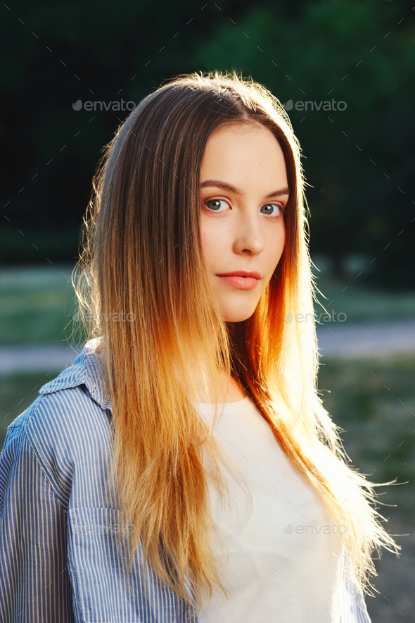 beautiful girl with long hair - Stock Photo - Images
