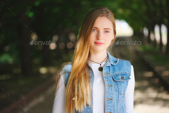 beautiful blonde girl on the street - Stock Photo - Images