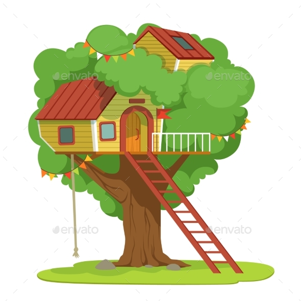 House with Ladder on Green Tree Vector - Landscapes Nature