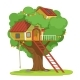 House with Ladder on Green Tree Vector - GraphicRiver Item for Sale