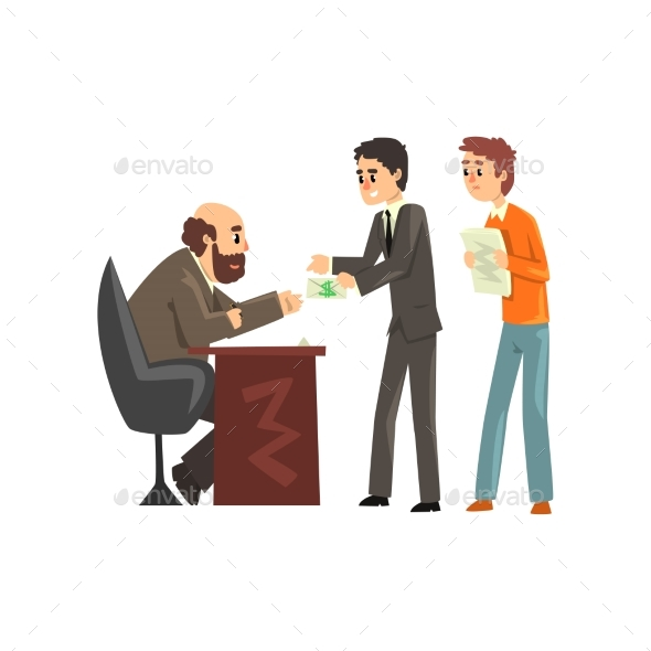 Two Men Giving Money To Get Permission - Concepts Business