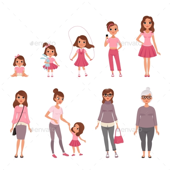 Life Cycles of Woman - People Characters