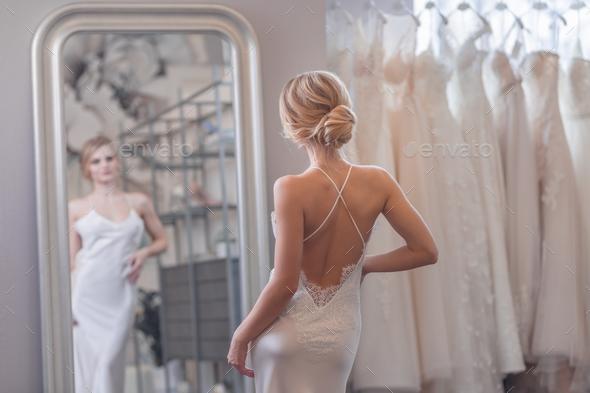 Beautiful bride at the mirror - Stock Photo - Images