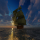 Large Sailing Ship At Sunset - VideoHive Item for Sale