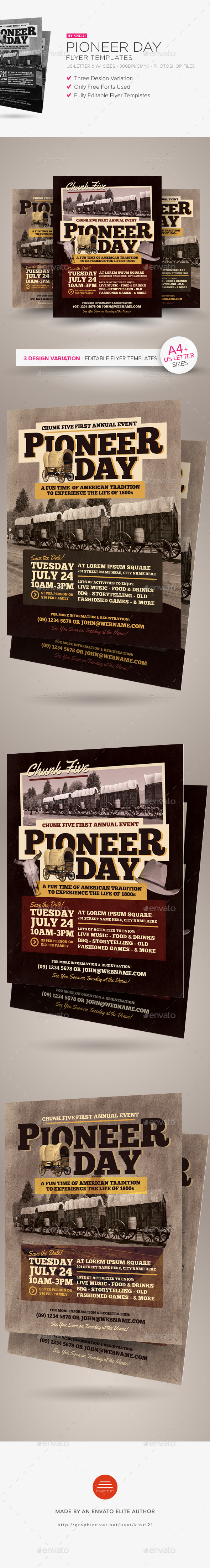 Pioneer Day Flyer Templates - Holidays Events
