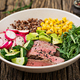 Buddha bowl lunch with grilled beef steak and quinoa, corn, avocado, cucumber and arugula - PhotoDune Item for Sale