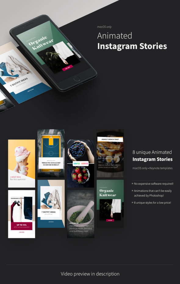 Animated Instagram Stories • Keynote Template by Knopkens | GraphicRiver