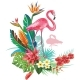 Tropical Decoration with Flamingoes