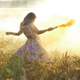 Beauty with Colored Smoke in Wheat Fields - VideoHive Item for Sale