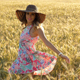 Girl with a Beautiful Summer Color Dress in a Wheat Field - VideoHive Item for Sale