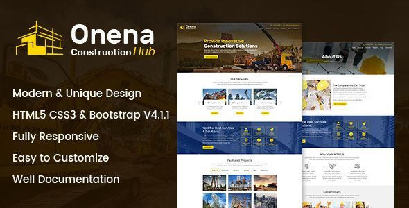Image of Onena Construction Hub HTML Template
